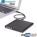 USB 3.0 Ultra Slim External DVD CD Burner Portable CD/DVD-RW Reader Writer Drive Player for Apple Mac, Mac Pro, Mac Air and other Laptops, Desktops,Windows 8.1/10 Compatible (Aluminium Grace Black)