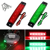 Shangyuan Boat Navigation Lights, Stern Lights for Boats, Marine Led Strip Lights for Boat Lights Bow and Stern, Navigation Lights for Boats Led, Kayak Lights, DC 12V 2PCS (Red and Green)