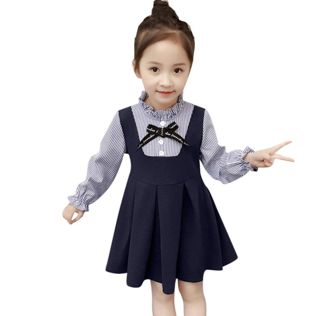 Suma-ma (18m-5t) Kid Girls Long-Sleeved Striped Bow Fake Two-Piece Dress Princess Cotton Casual Dress