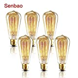 Senbao Edison Bulbs-Vintage Light Bulb 40W-E27 edison Style Squirrel cage filament Dimmable glass antique Lamp Romantic Cafe Light Filament 6 Pack