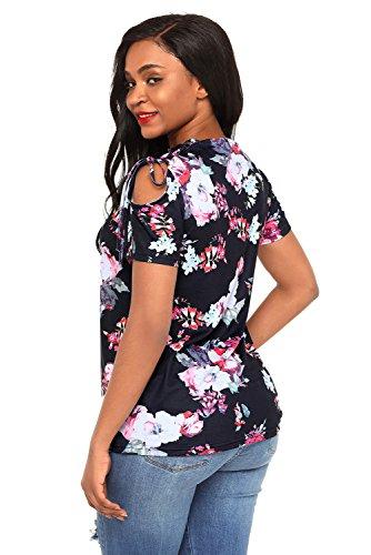Neuf Noir Floral Top avec dentelle épaule Blouse de soirée pour femme Tenue décontractée d'été Taille UK 12EU 40
