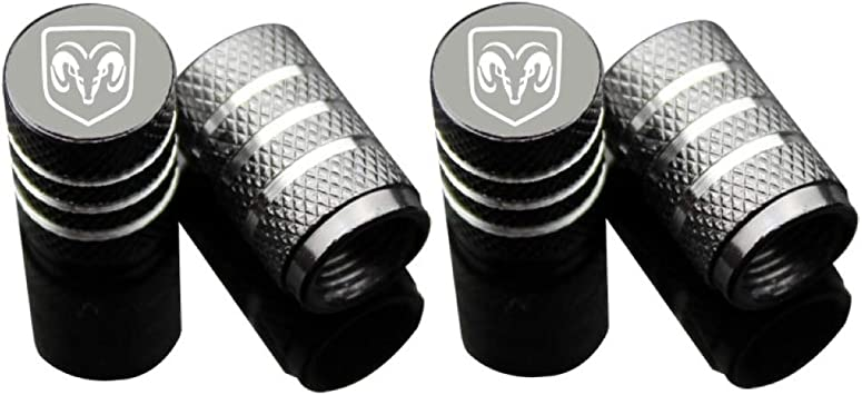 CzlpV 4 Pcs Black Tire Valve Stem Caps for Dodge Ram