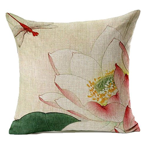 Cushion Cover - Lotus Leaf Red Dragonfly Pattern Linen Throw Pillow Case Cushion Cover Home Sofa Decorative 18 X - Pink Quotes Birds Bench Case Rectangle Tassel Dining Throw Outside Ivory Q