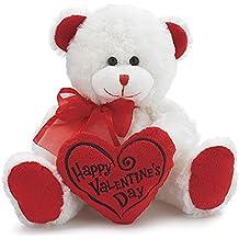 White & Red Happy Valentines Day Plush Teddy Bear Stuffed Animal Gift