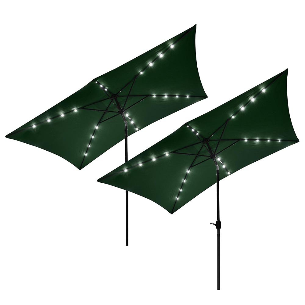 Yescom 10' x 6.5' Outdoor Rectangle Aluminum Solar Patio Umbrella w/ 20 LEDs Crank Tilt Poolside Garden (Pack of 2)
