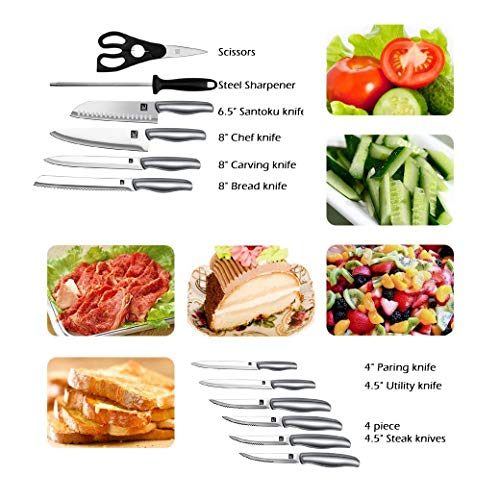 Stainless Steel Chef's Knife (12-Piece-Black) by J and J (Image #2)