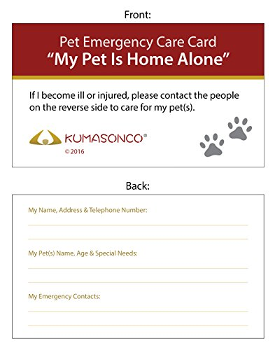 - KumasonCo Pet Emergency Care Card (Pack of 6)