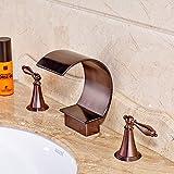 Rozin 3pcs Widespread Bathroom Sink Faucet Double Knobs Tub Filler Tap Antique Copper