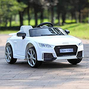 TOBBI Kids Ride On Audi TT RS Licensed Toys Racing Car Remote Control Music Mp3 Play AUX, White