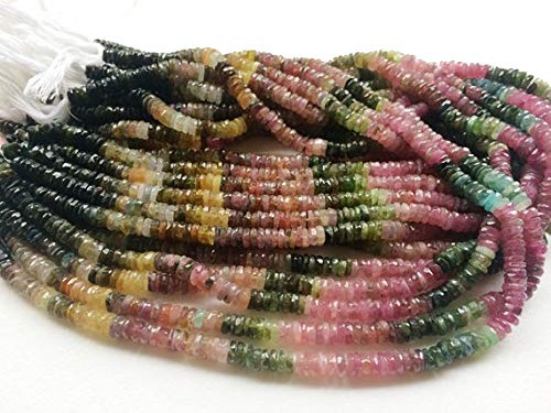 GemAbyss Beads Gemstone 1 Strand Natural Multi Tourmaline Faceted Tyre Beads, Tourmaline Spacer Beads, Multi Tourmaline Necklace, 5.5mm, 13 Inch Code-MVG-19457