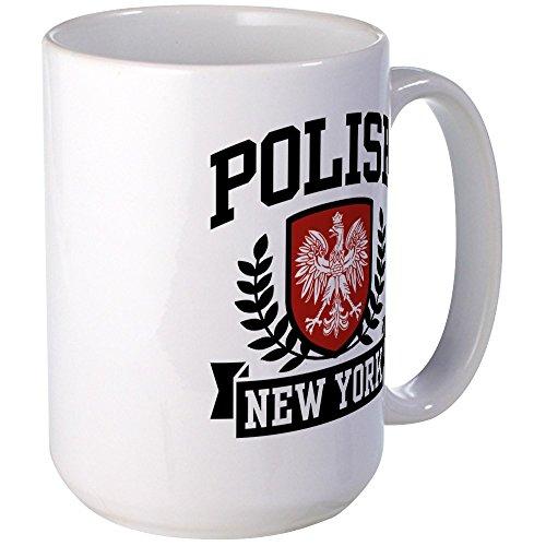 CafePress - Polish New York Large Mug - Coffee Mug, Large 15 oz. White Coffee Cup Polish Family Coat Arms