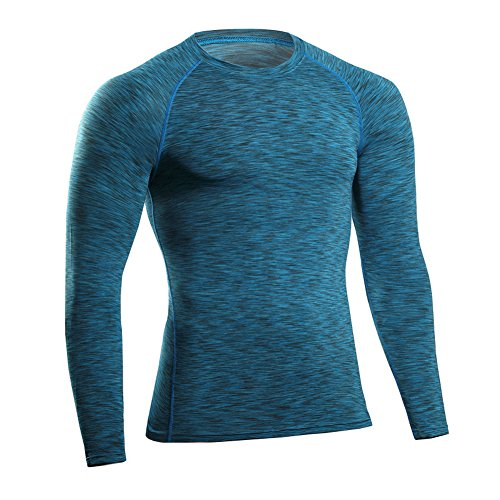 Prettywell Men's PRO Fitness Sports Fast Dry Breathable Stretch Shirt MA49 (L, Blue)