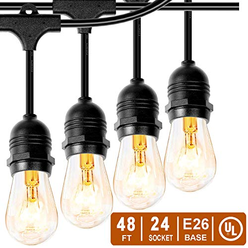 Phiersun 48 FT Outdoor String Lights, Edison Vintage Commercial Grade Lights with 24x E26 Base Sockets, 28pcs 11W S14 Bulbs, Hanging Light for Patio Cafe Party Bistro Backyard Pergola
