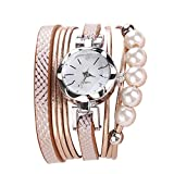 Women Quartz Watch,Lovewe CCQ Women Fashion Casual Analog Quartz Women Rhinestone Pearl Bracelet Watch (F)