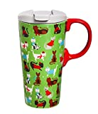 Cypress Home Winter Cheer Cats Ceramic Travel Coffee Mug, 17 ounces