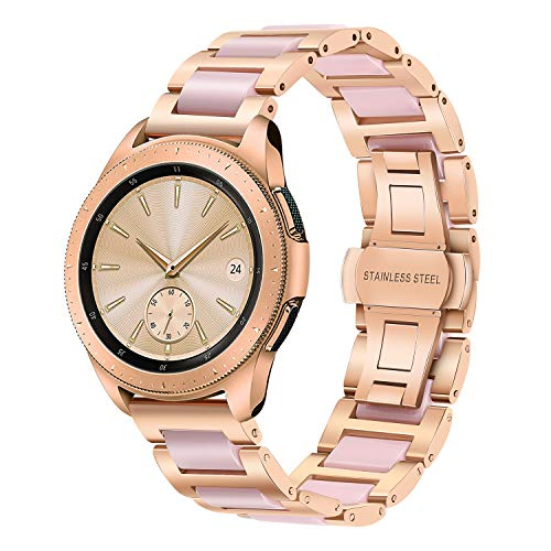 iWonow Compatible Galaxy Watch 42mm Band, Women 20mm Stainless Steel Ceramic Metal Bracelet Replacement Strap for Galaxy Watch Active 40mm R500, Samsung Gear S2 Classic/Garmin Vivoactive 3 Rose ()