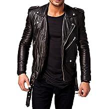 Men's Rocker Style Full Sleeve Black Leather Jacket