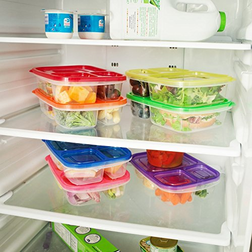 Meal Prep Containers 3 Compartment 10 Pack Food Prep Containers with Lids Portion Control Reauable Freezer Food Storage Plastic Salad Stackable Bento Lunch Box, Microwave, Dishwasher Safe by SCIONE (Image #3)'