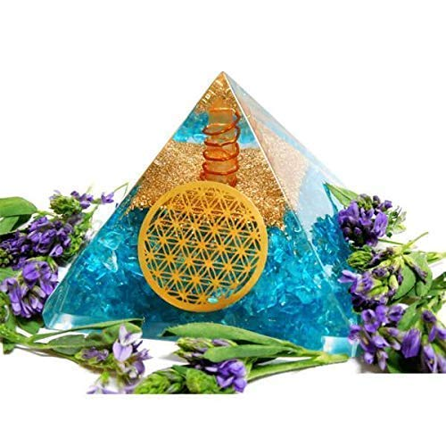 Orgonite Pyramid - Blue Aquamarine Pyramid for Emf Protection - Orgone Energy Generator - Orgone Pyramids for Chakra Balancing - Healing Stones Crystal Chakra - Chakra Crystal - By Agate Jewelry