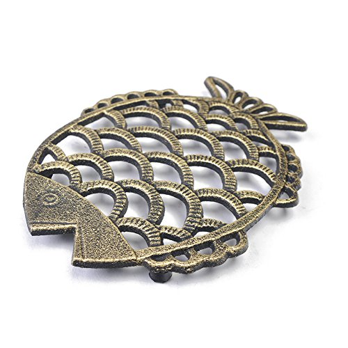 """Cast Iron Fish Trivet Mat,Hot Pot,Pad-Enameled Pot Insulated Pad, Decorative Trivet For Kitchen Counter Vintage,with Rubber Pegs/Feet, Glod with Black,6.1x7.8"""" ()"""