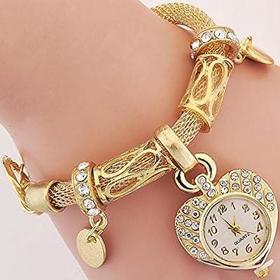 TraveT Style Peach Heart Chain Bracelet Women's Fashion Wrap Wrist Watch