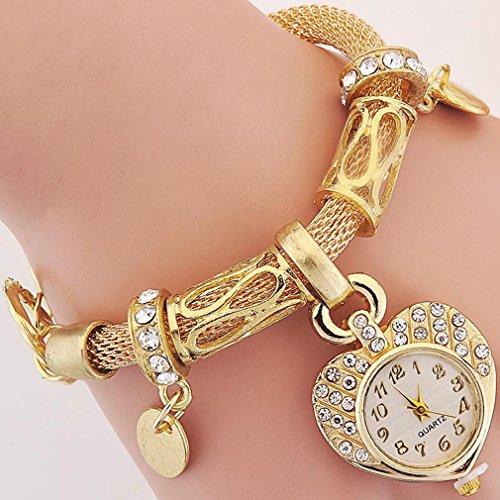 TraveT Style Peach Heart Chain Bracelet Women's Fashion Wrap Wrist Watch from TraveT