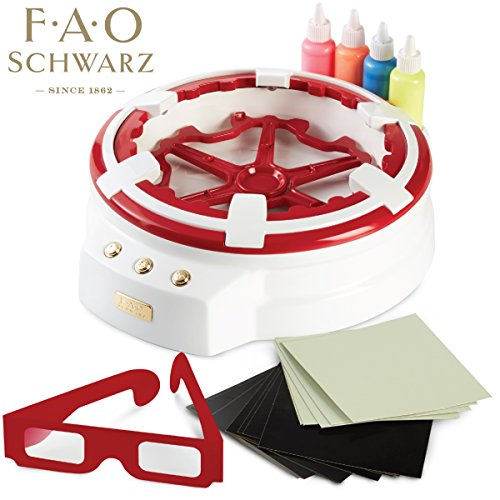 FAO Schwarz Amazing 3D Spin Art Toy Set For Children, 7-Piece Spinning Liquid Painting Kit For Preschoolers, Educational, Creative & Stimulating 3D Drawing, With Protective Glasses & 4 Neon Colors