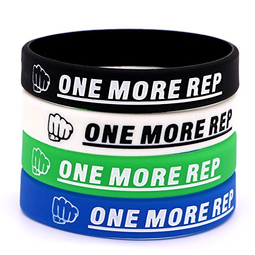 AVEC JOIE Motivational Silicone Bracelets Rubber Band Wristbands with Inspirational Sayings ONE More REP for Fitness, Basketball, Crossfit, Sport and Task