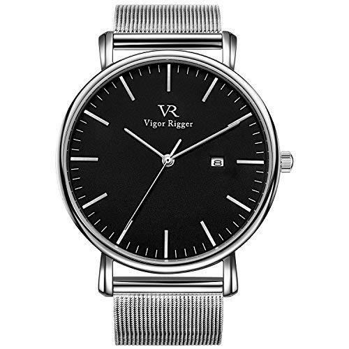 Vigor Rigger Relojes para Mujeres Relojes para Hombres Reloj clásico Moderno de Cuarzo Negro con Puntero