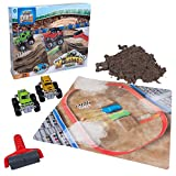 Play Dirt Monster Truck Rally - Unique Play Dirt For Burying and Digging Fun - Includes Dirt, Monster Trucks, Road Roller, and Play Mat
