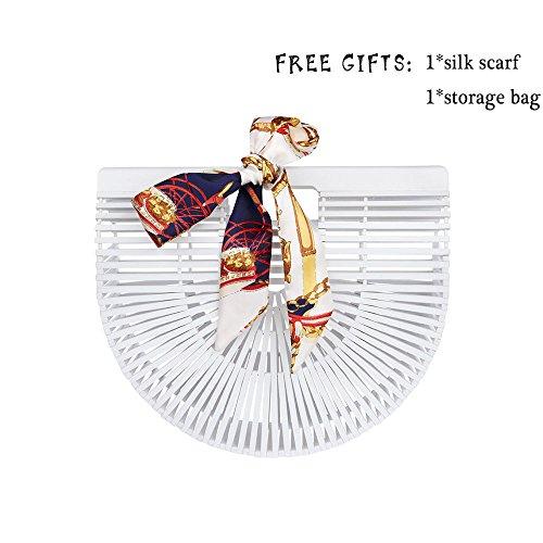 Bamboo Handbag Handmade Tote Bag Handle Straw Beach Bag for Women By Samuel (White) by Samuel (Image #7)