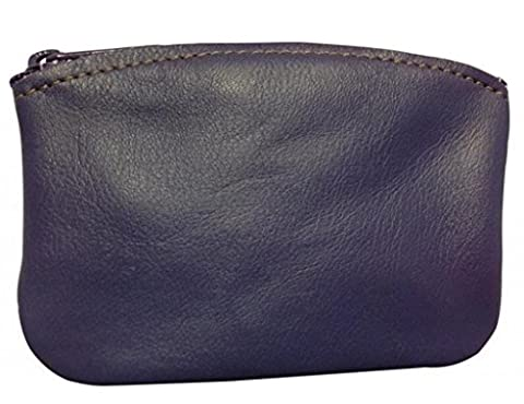 Classic Men's Large Coin Pouch Genuine Leather, Zippered Change Purse By Nabob (Purple)