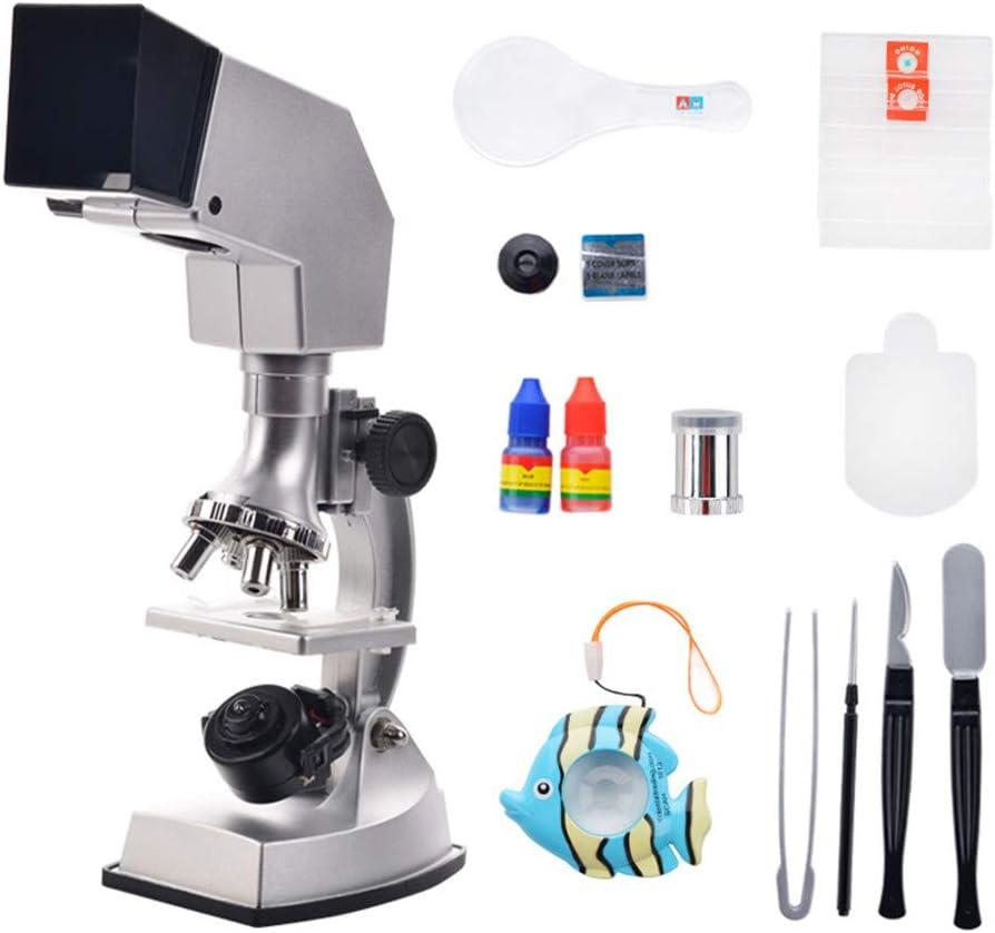 Chengzuoqing Microscopio Infantil Microscopio LED para Estudiantes de National Geographic - ¡Lente de Vidrio óptico 10X-25X del Kit de Ciencia y más! (Plata) Juegos educativos y científicos.