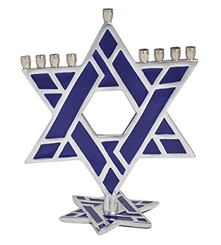 Aluminum Star of David Menorah with Blue Enamel For All 8 Nights of Chanukah