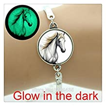 plated silver bangle jewelry Glass glowing white horse charm bracelet for men...
