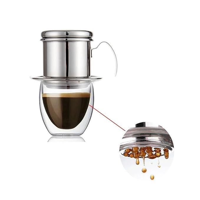 Filtro de acero inoxidable superior para cafetera Vietnam con una sola taza para uso en el hogar y el aire libre: Amazon.es: Hogar