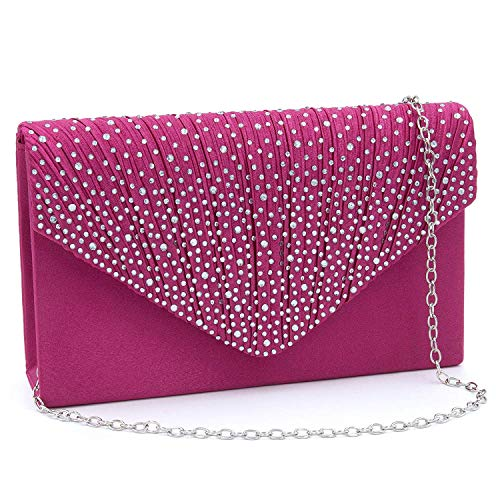 (Milisente Clutch Purses for Women evening Glitter Wedding Purse Crystal Envelope Clutches Shoulder Bags (Fuchsia))