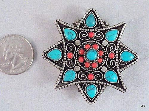 (Huge Tibetan 8 Heart Turquoise 12 Coral Gemstone Ghau Prayer Box Amulet Pendant)