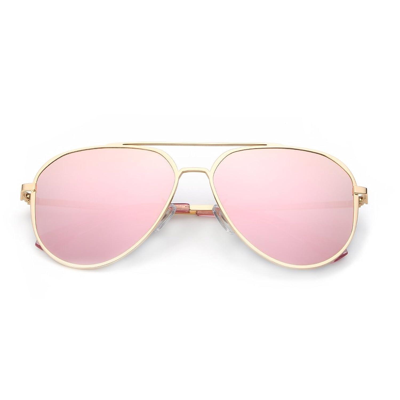 eed1764d0a DONNA Unisex Retro Polarized Mirrored Aviator Sunglasses with Oversized  Anti-glare Lens Double Bridge Unbreakable