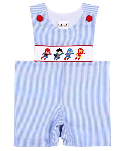 Babeeni Rompers For Boys Feature With Hand-Smocked Superheroes Patterns In Blue Stripe & Red Pique Plain Fabric (12M)