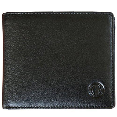LINDENMANN Herren Portemonnaie / Geldbeutel Herren, Rindleder matt, quer, schwarz