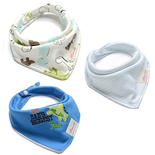 JINGS Drool Bibs |3-Pack Super Absorbent Cotton|Unisex Baby Gift|3-24Months (BIB-Dragon)