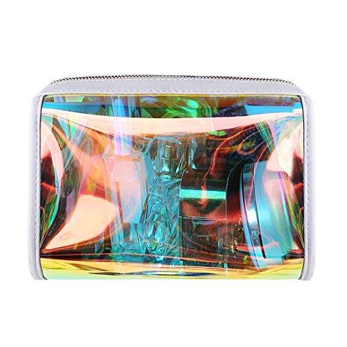 Gabrine Womens Girls Clear Transparent Rainbow Laser Hologram Cosmetic Makeup Travel Wash Bag Clear