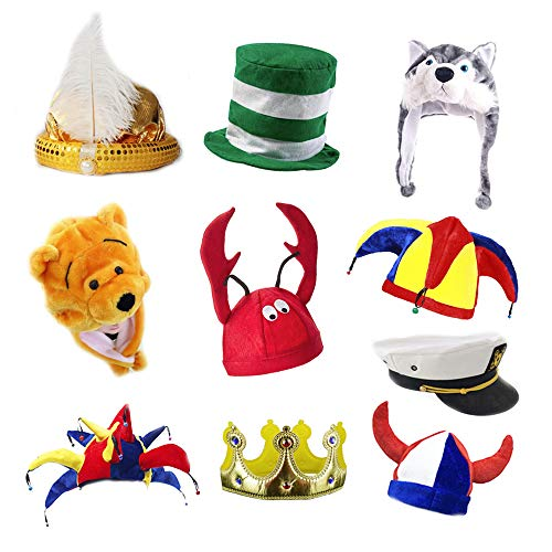 TD.IVES Novetly Party Hats,Funny Costume Hats,6 Assorted Dress Up Party Hats for Adult
