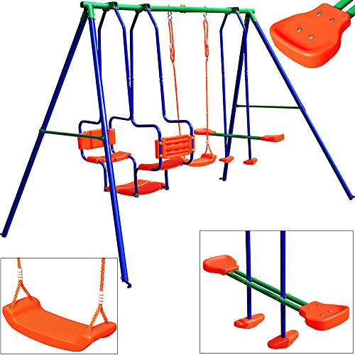 Deuba Swing Set Xxl 5 Children Metal Frame Activity Center Outdoor
