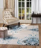 Summit 405blue4/5 Chatham 202 Damask Area Rug Taupe , 5'x7′ For Sale
