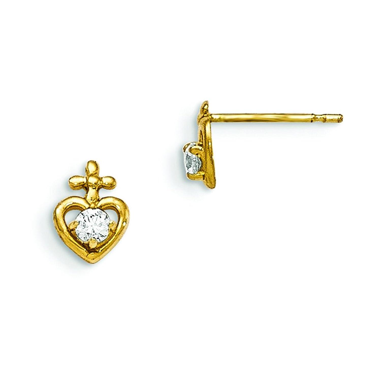 396a58b441f1 Pendientes de oro amarillo de 14 quilates con diseño de corazón para niños  ...