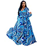 Dora's Womens See Through Deep V Neck Printed Floral Maxi Long Dress Weding Party Dresses Plus Size (Blue XL)