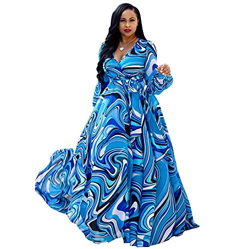 (Nuofengkudu Womens Sheer Summer Boho V-Neck Printed Floral Maxi Dress Long Sleeves Dresses Slim Waisted Plus (Blue))
