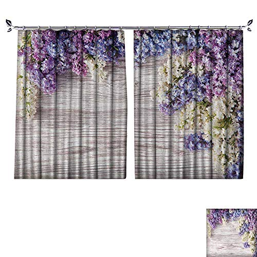 DESPKON Facial Blend Fabric high Density Lilac Flowers Bouquet on Wooden Plank Background,Spring Purple Blooming Bunch,Branch Shading for Bedroom W84 x L72